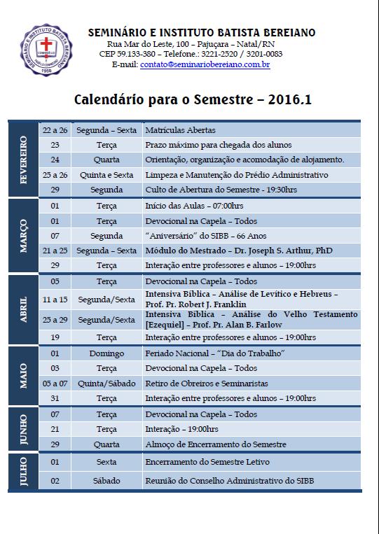 Calendário para o Semestre - 2016.1