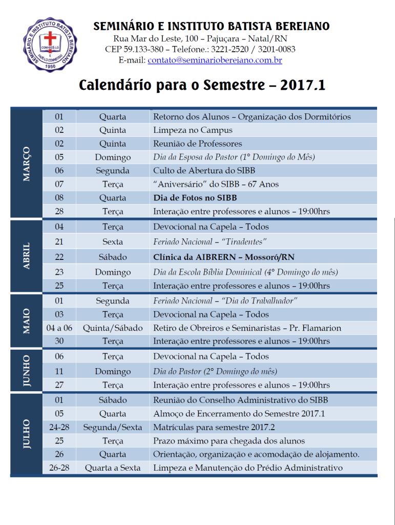 Calendário para o Semestre - 2017.1