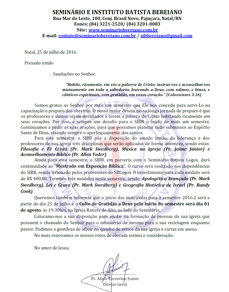 Carta Culto de Abertura SIBB 2016